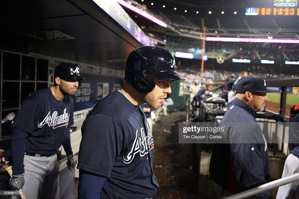 <a gi-track='captionPersonalityLinkClicked' href=/galleries/search?phrase=Freddie+Freeman&family=editorial&specificpeople=5743987 ng-click='$event.stopPropagation()'>Freddie Freeman</a>, (center), #5 of the Atlanta Braves in the dugout watching play as he prepares to bat flanked by <a gi-track='captionPersonalityLinkClicked' href=/galleries/search?phrase=Jeff+Francoeur&family=editorial&specificpeople=217574 ng-click='$event.stopPropagation()'>Jeff Francoeur</a>, (left), #18 and manager Fredi Gonz��lez during the Atlanta Braves Vs New York Mets MLB regular season game at Citi Field on May 03, 2016 in New York City.