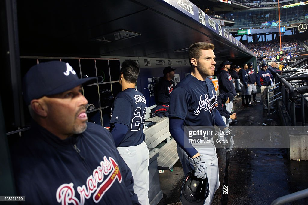 <a gi-track='captionPersonalityLinkClicked' href=/galleries/search?phrase=Freddie+Freeman&family=editorial&specificpeople=5743987 ng-click='$event.stopPropagation()'>Freddie Freeman</a> #5 of the Atlanta Braves and Manager Fredi Gonz��lez, (left), in the dugout preparing to bat during the Atlanta Braves Vs New York Mets MLB regular season game at Citi Field on May 03, 2016 in New York City.