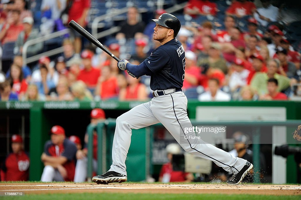 <a gi-track='captionPersonalityLinkClicked' href=/galleries/search?phrase=Freddie+Freeman&family=editorial&specificpeople=5743987 ng-click='$event.stopPropagation()'>Freddie Freeman</a> #5 of the Atlanta Braves bats against the Washington Nationals at Nationals Park on August 6, 2013 in Washington, DC.