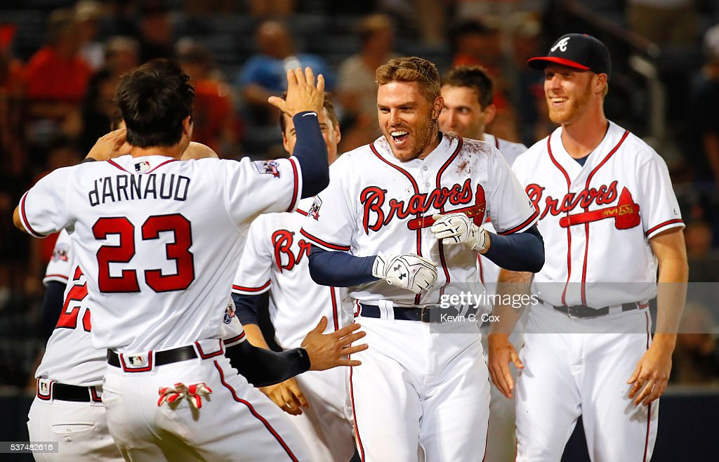 <a gi-track='captionPersonalityLinkClicked' href=/galleries/search?phrase=Freddie+Freeman&family=editorial&specificpeople=5743987 ng-click='$event.stopPropagation()'>Freddie Freeman</a> #5 of the Atlanta Braves celebrates after his walk-off homer in their 5-4 win over the San Francisco Giants in the 11th inning at Turner Field on June 1, 2016 in Atlanta, Georgia.