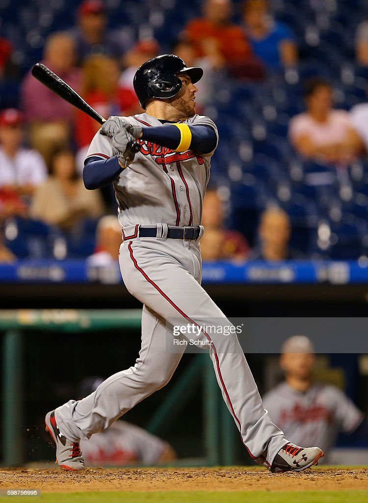 Freddie Freeman #5 of the Atlanta Braves hits an RBI double against the Philadelphia Phillies during the ninth inning of a game at Citizens Bank Park on September 2, 2016 in Philadelphia, Pennsylvania.