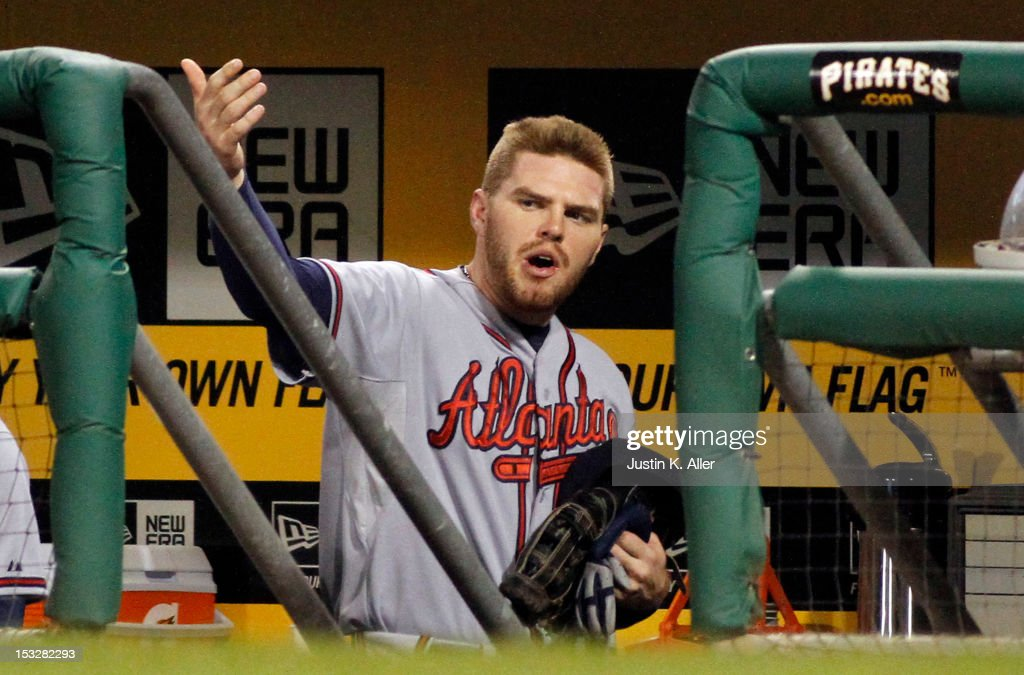 <a gi-track='captionPersonalityLinkClicked' href=/galleries/search?phrase=Freddie+Freeman&family=editorial&specificpeople=5743987 ng-click='$event.stopPropagation()'>Freddie Freeman</a> #5 of the Atlanta Braves is ejected from the game against the Pittsburgh Pirates during the game on October 2, 2012 at PNC Park in Pittsburgh, Pennsylvania. The Pirates defeated the Braves 5-1.