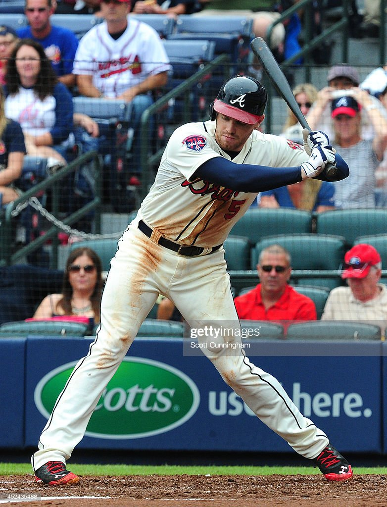 <a gi-track='captionPersonalityLinkClicked' href=/galleries/search?phrase=Freddie+Freeman&family=editorial&specificpeople=5743987 ng-click='$event.stopPropagation()'>Freddie Freeman</a> #5 of the Atlanta Braves is hit by a pitch just above the left knee during the third inning against the Philadelphia Phillies at Turner Field on July 20, 2014 in Atlanta, Georgia.
