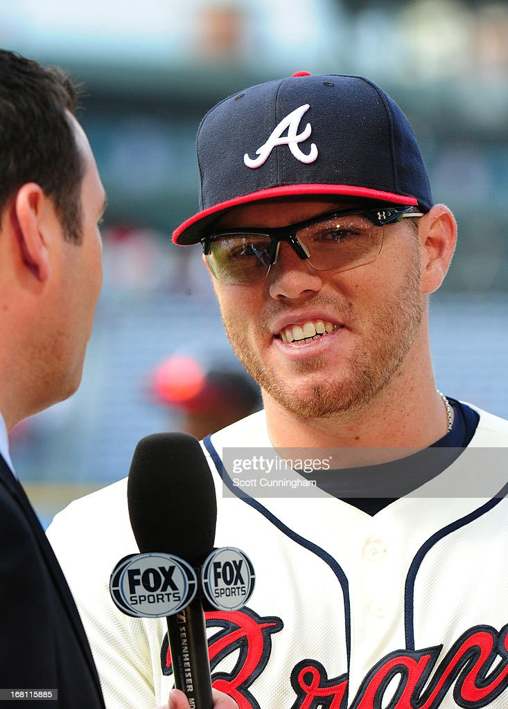<a gi-track='captionPersonalityLinkClicked' href=/galleries/search?phrase=Freddie+Freeman&family=editorial&specificpeople=5743987 ng-click='$event.stopPropagation()'>Freddie Freeman</a> #5 of the Atlanta Braves is interviewed after the game against the New York Mets at Turner Field on May 5, 2013 in Atlanta, Georgia.