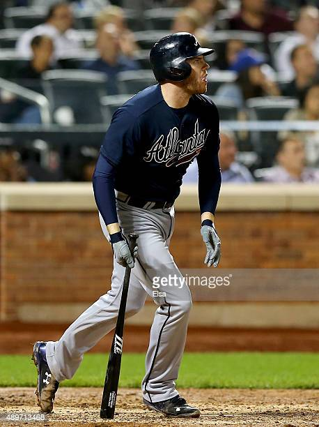 Freddie Freeman of the Atlanta Braves watches his three run home run in the ninth inning against the New York Mets on September 23 2015 at Citi Field...