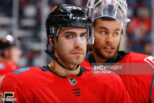Freddie Hamilton of the Calgary Flames at warm up in an NHL game against the Vancouver Canucks at the Scotiabank Saddledome on November 7 2017 in...