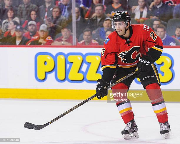 Freddie Hamilton of the Calgary Flames in action against the Toronto Maple Leafs during an NHL game at Scotiabank Saddledome on November 30 2016 in...