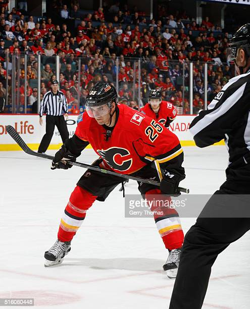 Freddie Hamilton of the Calgary Flames preapres to face off against the Winnipeg Jets at Scotiabank Saddledome on March 16 2016 in Calgary Alberta...