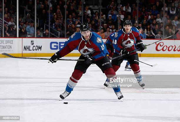 Freddie Hamilton of the Colorado Avalanche takes a slapshot against the Calgary Flames at Pepsi Center on March 14 2015 in Denver Colorado The...