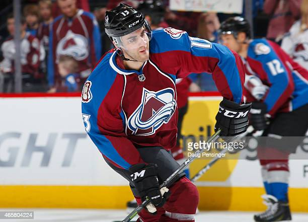 Freddie Hamilton of the Colorado Avalanche warms up prior to facing the Los Angeles Kings at Pepsi Center on March 10 2015 in Denver Colorado