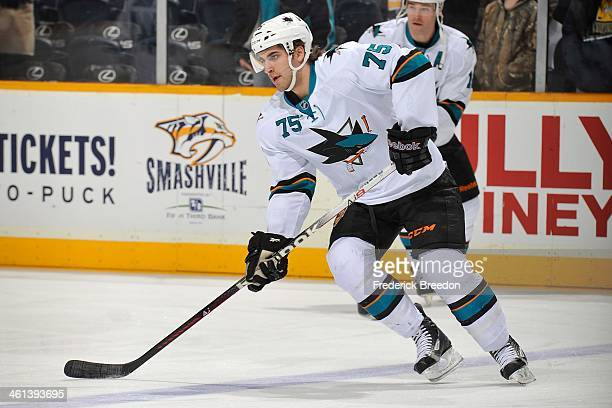 Freddie Hamilton of the San Jose Sharks plays against the Nashville Predators at Bridgestone Arena on January 7 2014 in Nashville Tennessee