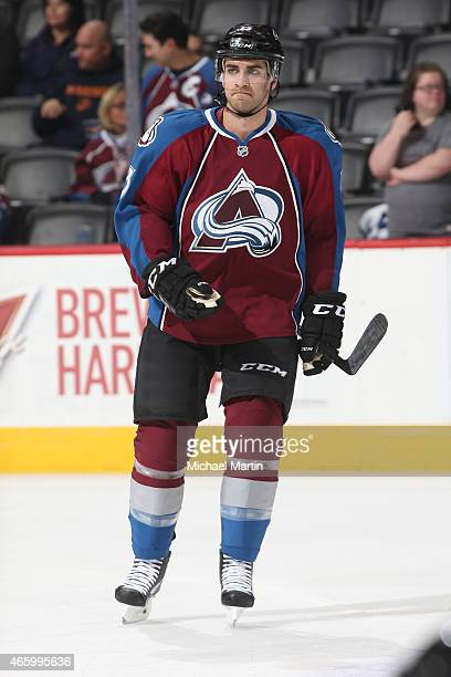 Freddie Hamilton skates prior to his first home game as a member of the Colorado Avalanche as they prepare to face off against the Los Angeles Kings...