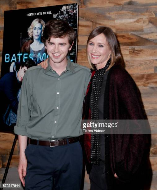 Freddie Highmore and Vera Farmiga attend the Television Academy Event for AE's 'Bates Motel' at Universal Studios Hollywood on April 24 2017 in...