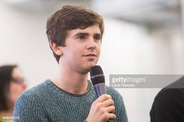Freddie Highmore is interviewed on day one of the 'Walker Stalker' convention at London Olympia on March 4 2017 in London United Kingdom
