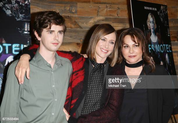 Freddie Highmore Vera Farmiga and Kerry Ehrin attend the Television Academy event for AE's 'Bates Motel' held at Universal Studios Hollywood on April...
