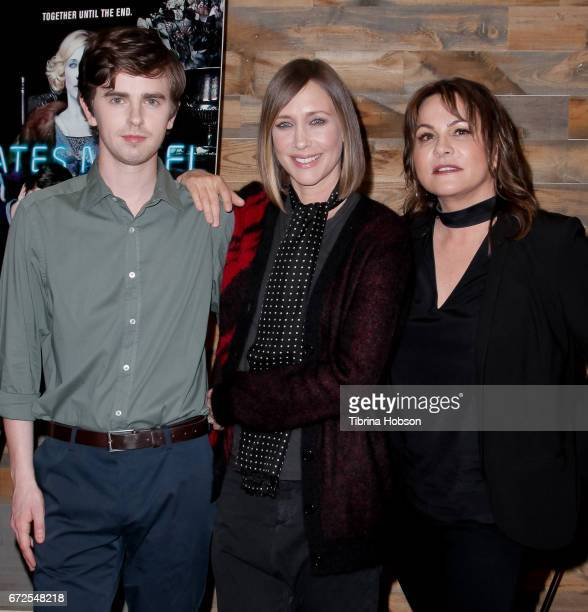 Freddie Highmore Vera Farmiga and Kerry Ehrin attend the Television Academy Event for AE's 'Bates Motel' at Universal Studios Hollywood on April 24...