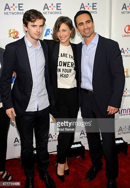 Freddie Highmore Vera Farmiga and Nestor Carbonell attend 2015 AE Networks Upfront on April 30 2015 in New York City