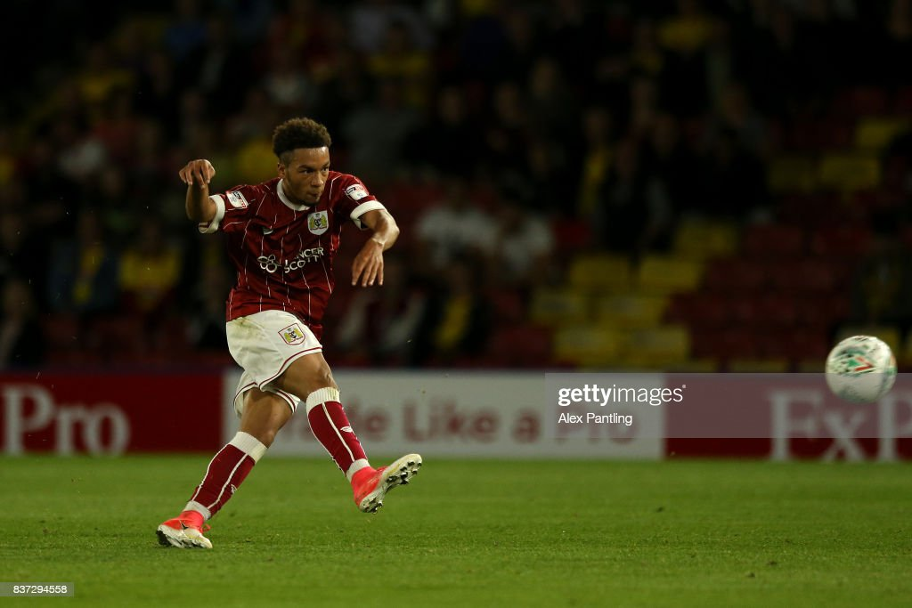 Freddie Hinds of Bristol City scorers his team's first goal during the Carabao Cup Second Round match between Watford and Bristol City at Vicarage Road on August 22, 2017 in Watford, England.