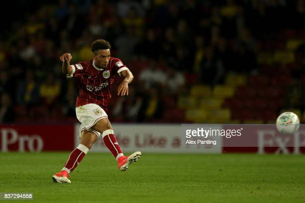Freddie Hinds of Bristol City scorers his team's first goal during the Carabao Cup Second Round match between Watford and Bristol City at Vicarage...