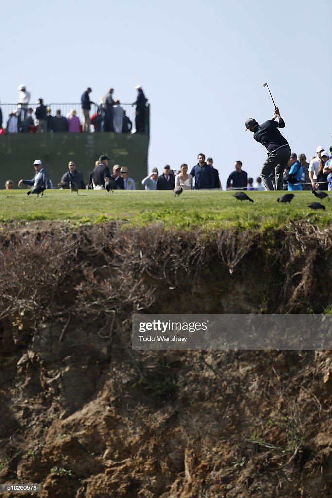 Freddie Jacobson of Sweden plays a shot from the eighth fairway during the final round of the AT&T Pebble Beach National Pro-Am at the Pebble Beach Golf Links on February 14, 2016 in Pebble Beach, California.
