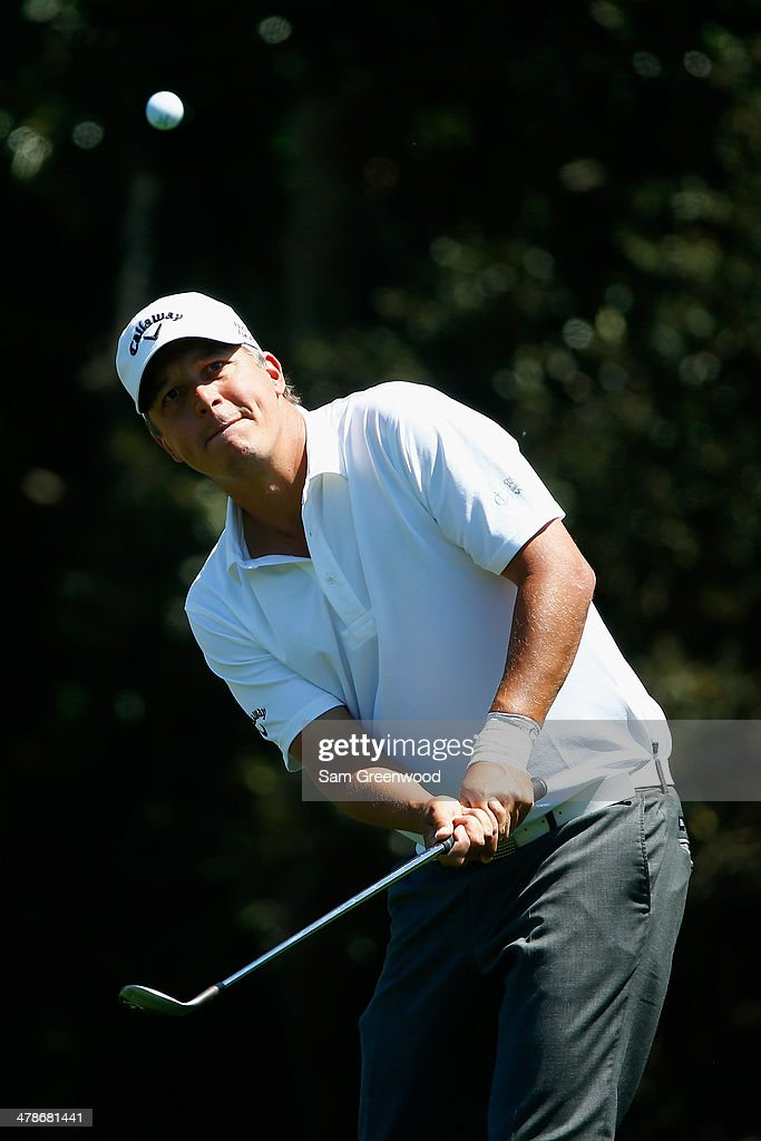 Freddie Jacobson of Sweden plays a shot on the 7th hole during the second round of the Valspar Championship at Innisbrook Resort and Golf Club on March 14, 2014 in Palm Harbor, Florida.