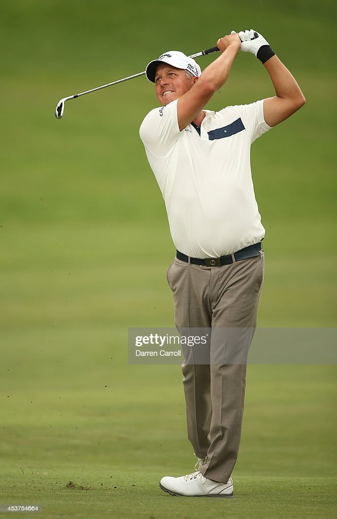 Freddie Jacobson of Sweden plays his second shot from the fairway on the 10th hole during the final round of the Wyndham Championship at Sedgefield Country Club on August 17, 2014 in Greensboro, North Carolina.