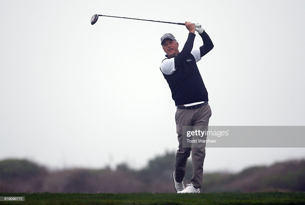 Freddie Jacobson of Sweden plays his tee shot on the 12th hole during round three of the AT&T Pebble Beach National Pro-Am at Monterey Peninsula Country Club (Shore Course) on February 13, 2016 in Pebble Beach, California.
