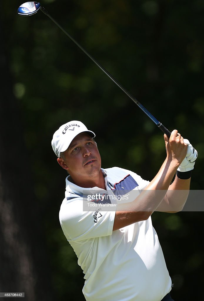 Freddie Jacobson of Sweden plays his tee shot on the second hole during the third round of the Wyndham Championship at Sedgefield Country Club on August 16, 2014 in Greensboro, North Carolina.