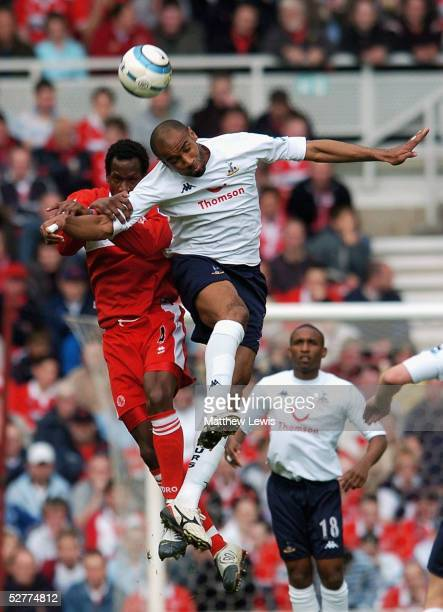 Freddie Kanoute of Tottenham and Ugo Ehiogu of Middlesbrough challenge for the ball during the Barclays Premiership match between Middlesbrough and...