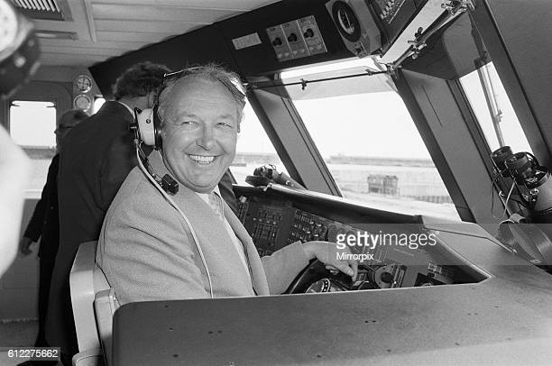 Freddie Laker pictured at the controls 26th April 1979