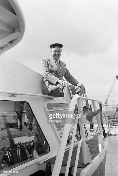 Freddie Laker wearing sailors hat on the 'Normandy Princess' 26th April 1979