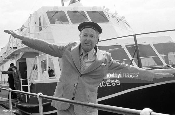 Freddie Laker wearing sailors hat with the 'Normandy Princess' in the background 26th April 1979
