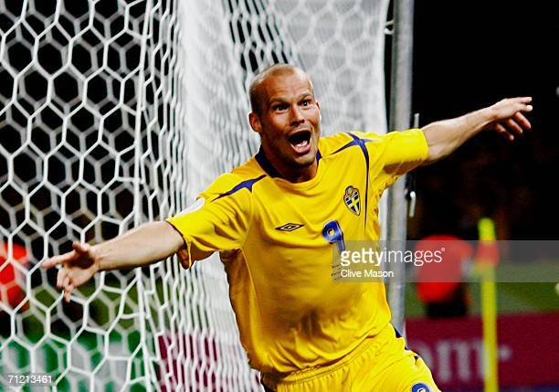Freddie Ljungberg of Sweden celebrates scoring the winning goal during the FIFA World Cup Germany 2006 Group B match between Sweden and Paraguay...