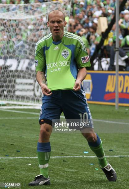 Freddie Ljungberg of the Seattle Sounders FC complains to the referee during the game against the San Jose Earthquakes on May 22 2010 at Qwest Field...