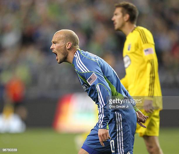 Freddie Ljungberg of the Seattle Sounders FC yells at the referee during the game against the Columbus Crew on May 1 2010 at Qwest Field in Seattle...