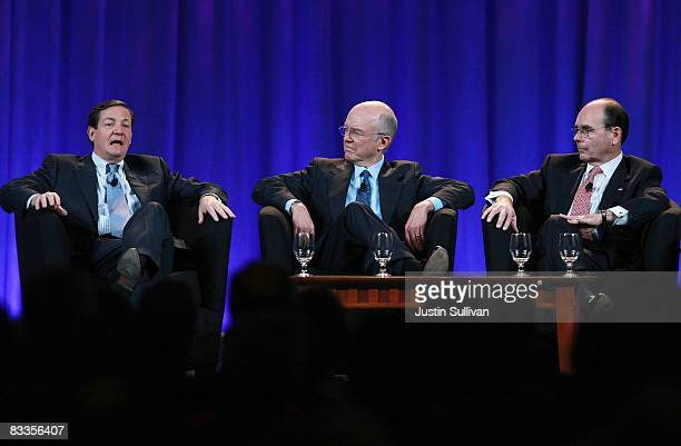 Freddie Mac CEO David Moffett speaks as Fannie Mae President and CEO Herbert Allison and Federal Housing Finance Agency Director James Lockhart look...