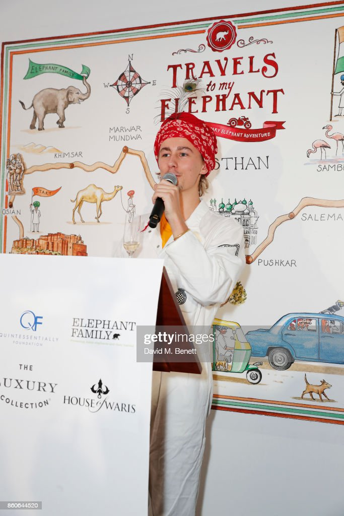 Freddie Mark attends the Travels to My Elephant racer send-off party hosted by Ruth Ganesh, Ben Elliot and Waris Ahluwalia in association with The Luxury Collection at 1 Horse Guards Avenue on October 12, 2017 in London, England.