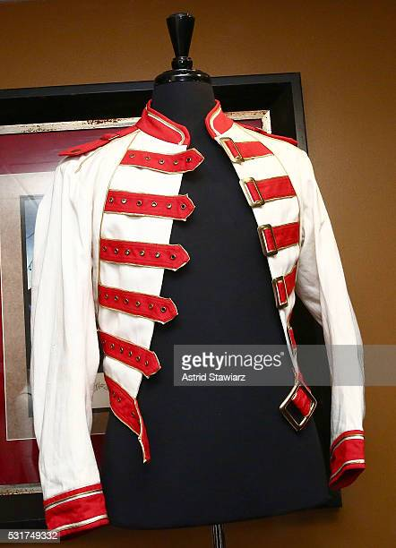 Freddie Mercury 1986 Queen Magic Tour jacket is displayed during Julien's Auction Music Icons Press Exhibition at Hard Rock Cafe Times Square on May...