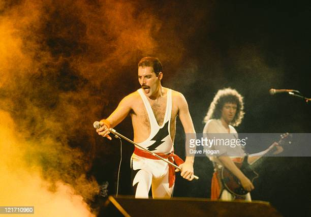 Freddie Mercury and Brian May on stage during Queen's performance at the Rock in Rio festival Brazil January 1985 The festival ran for 10 days and...