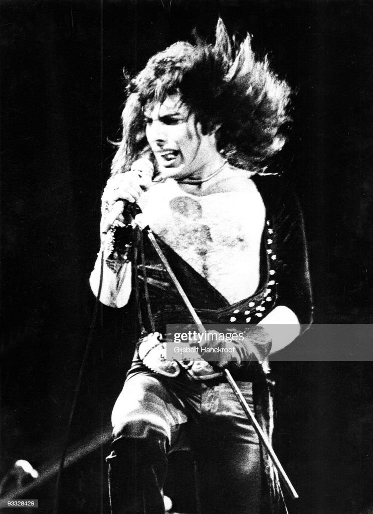 Freddie Mercury from Queen performs live at Congres Gebouw in The Hague Holland on December 08 1974