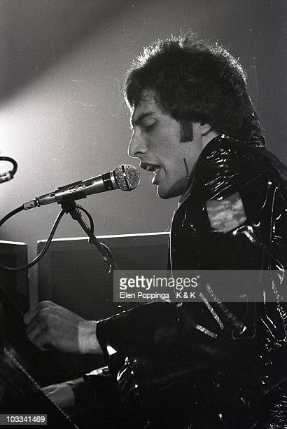 Freddie Mercury from Queen performs live on stage at the Ernst Merck Halle in Hamburg Germany on January 17 1979