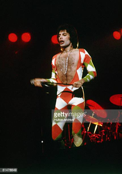 Freddie Mercury in concert with his hard rock group Queen June 1977