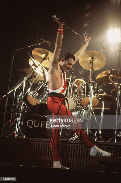 Freddie Mercury lead singer of 70s hard rock quartet Queen in concert