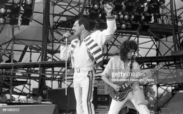 Freddie Mercury lead singer of Queen performing at Slane Castle