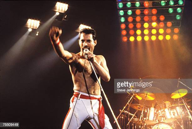 Freddie Mercury of Queen 1982 Tour at the Various Locations in Oakland California