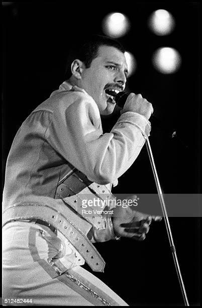 Freddie Mercury of Queen Freddie Mercury performs on stage at Groenoordhal Leiden Netherlands 11th June 1986