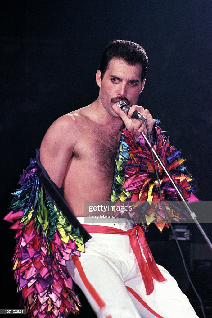 Freddie Mercury of Queen performs at Madison Square Garden on July 27 1983 in New York City