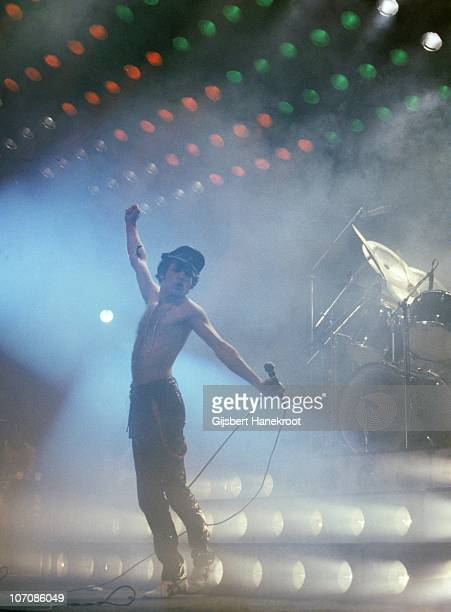 Freddie Mercury of Queen performs on stage at Ahoy on 29th January 1979 in Rotterdam Netherlands