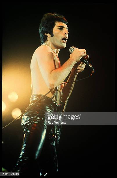 Freddie Mercury of Queen performs on stage at Ahoy Rotterdam Netherlands 29th January 1979