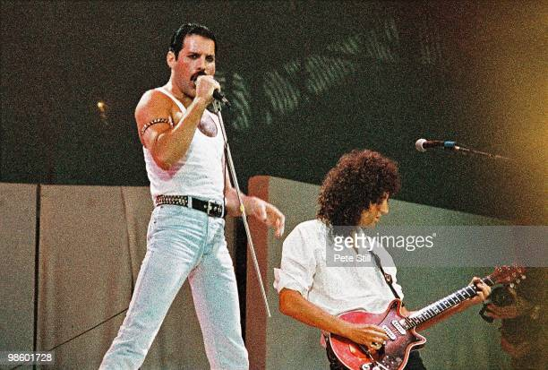 Freddie Mercury of Queen performs on stage at Live Aid on July 13th 1985 in Wembley Stadium London England